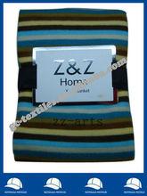 microfiber stripe printed brushed Fleece Home blanket/Throw with overlocked edge