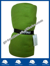 microfiber green promotional brushed Fleece Throw with overlocked edge rolled by printed woven tape