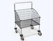 Steel frame w Black coated wire basket Laundry Cart