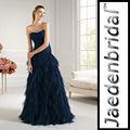 jp0264 strapless babados em cascata zíper volta design sereia prom vestido azul marinho