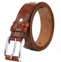 Hot Sale Fashion Cowhide Genuine Leather embossed Belt for Men Good quality with pin alloy buckle