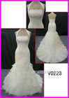 2014 guangzhou sparkling beaded lace organza halter mermaid wedding dresses/bridal dresses with ruffled skirt V0223