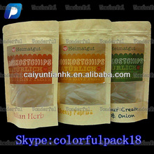 custom printed kraft paper bag for beef jerky with ziplock and window/wholesale snack paper packaging bags with sticker