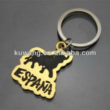Golden Plated Spain Tourist Souvenir Bullfight Keychain