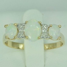 wooden jewelry box - 9K Solid YG Genuine 0.84 ct Opal & Diamond Ring (DR2116_OPAL)