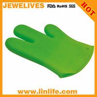 New green 3 finger silicone glove oven mitt