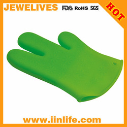 New green 3 finger silicone glove oven mitt