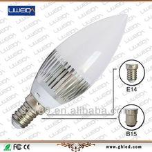 Energy-saving AC100-240V WW/NW/W Color Temperature 3W E12 LED Candle Light