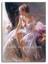 naked chest girl oil painting