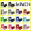 360 Degree Rotating Swivel Smart Pu Leather Protective Case For IPad 2 3 4 With Sleep & Wake Function