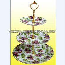 Food safety ceramic 3 tier plate set