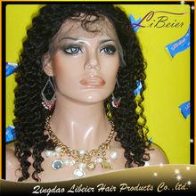 Nova chegada cacheados cores #1b virgem indiana cabelo humano peruca feminina