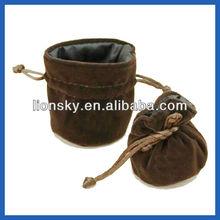 umber round bottom satin lined velvet gift bag