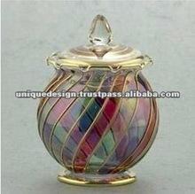 Egyptian Hand Blown Bonbonniere Glass Candy Jar