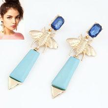 PE070 Foreign styles jewelry alloy blue bee dangle earrings