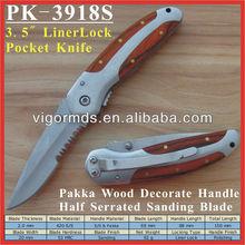 "(PK-3918S) 3.5"" Long Pakka Wood Inlaid Decorate Handle Lock Blade Folding Pocket Knife"