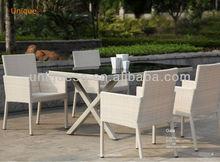 Bermuda X alum wicker table Gala alum wicker chair bench seat dining table outdoor furniture 5pcs/set
