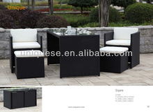 Square alum wicker 5pc/set outdoor furnitures cheap folding kitchen tables