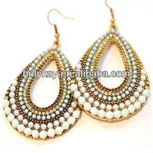 Palace Style teardrop earring set, beads fashion big earring 2014, wholesale jewelry accessories for women