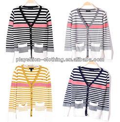 New Ladies Knitted Crochet Shrug Stripe Patterns Long Sleeve Cardigan