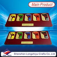 Wood plate used as Medal display stander five color enamel taekwondo medal metal sticker on wood plate
