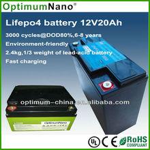 light weight UPS /solar light 12v 20ah lithium ion battery