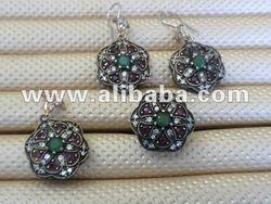 925 Sterling Silver Gold 14k 9 8kt 6 kt 4 k Handmade antique Turkish Jewelry Earring Necklace Pendant Ring Sets Designer