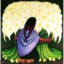 Handmade Diego Rivera decorative figure Oil painting, The Flower Seller