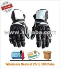 Black/White Leather 50 Pairs wholesale lot Resale Motorcycle Leather Gloves