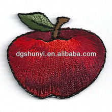 apple with stem fully embroidered iron on applique