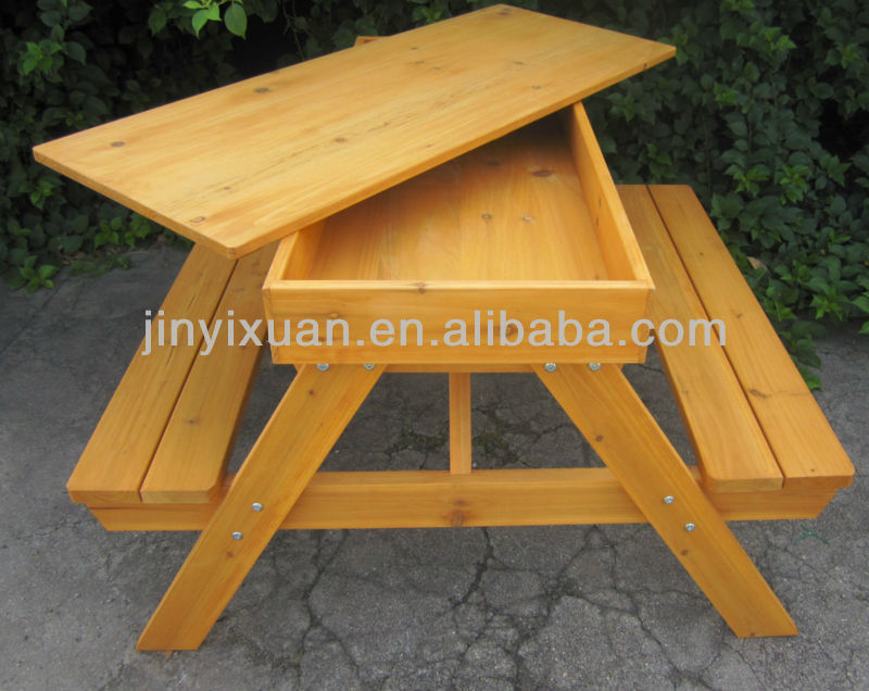 outdoor wooden picnic table and bench for kids wood garden children ...