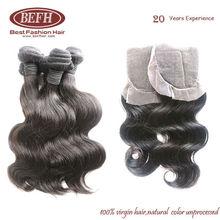 Virgin brazilian Hair Body Wavy Queen Weave Beauty with free part closure,swiss lace,bleached knots,density130%