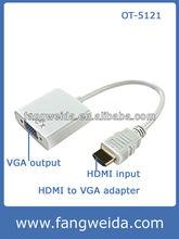 White plastic HDMI to VGA +Mirco USB converter-Aluminum case (OT-5121)
