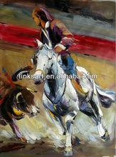 Handmade palette knife oil painting of spanish bullfighting