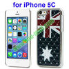 UK flag design Electroplating Diamond Case for iPhone 5C with Mirror Function