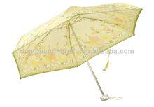 Simple 490mm 19 inches 6 folds manual square aluminium and metal sun umbrella For Lady