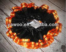 wholesale price baby halloween party costumes dance tutu pettiskirt black with orange ruffles baby girl dress pettiskirts