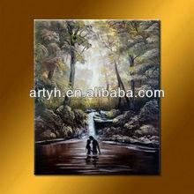 Latest designs deep forest romantic love painting autumn landscap painting