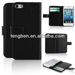 genuine leather flip case for iphone 5
