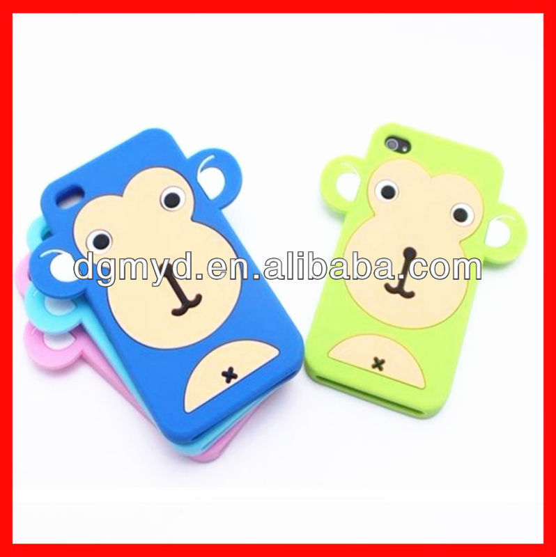 Hot Monkey Carton Shaped Silicone Mobile phone bags and case for Iphone
