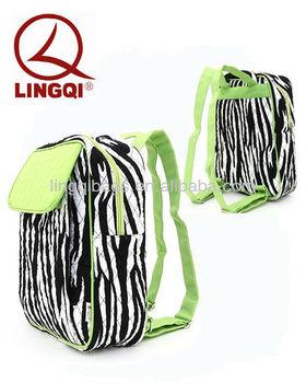 Stylish Belvah Medium Cute Quilted Zebra Stripe Print Fabric Backpacks Purse