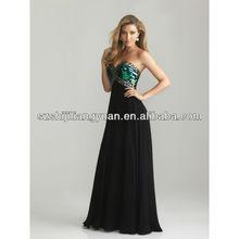 SJ1316 black sweetheart crystal beaded chiffon cheap evening dress 2013