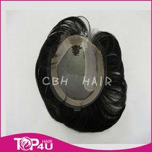 ali express fashion virgin hair piece man's hair wig toupee