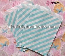Sky Blue Striped Tiny Paper Treat Bag