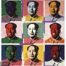 Handmade Andy Warhol pop art painting, Nine-Chinese President Mao