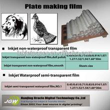 Waterproof Inkjet plate making non transparency film,milky white semi-transparent inkjet film