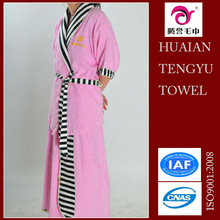 100% cotton pink velvet hotel bathrobe