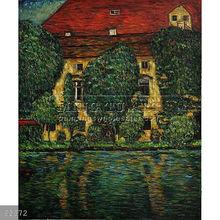 Handmade Gustav Klimt landscape oil painting, Schloss Kammer on Attersee II
