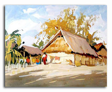 Handmade indian rural life scenery oil painting on canvas
