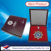 China enamel blue Medal trophy with box Can make custom metal medal usb and academic medals